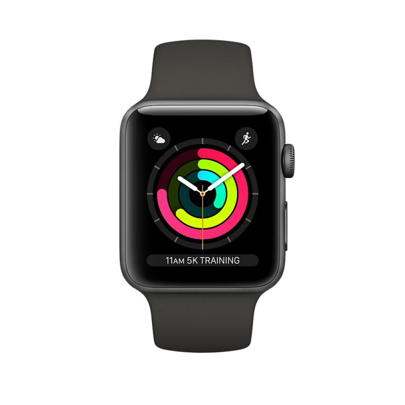 Apple Watch Series 3 42mm Space Gray Aluminum Case with Gray Sport Band