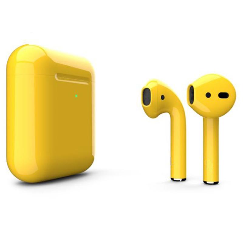 Беспроводные наушники Apple AirPods 2 Color (беспроводная зарядка чехла) Yellow Glossy