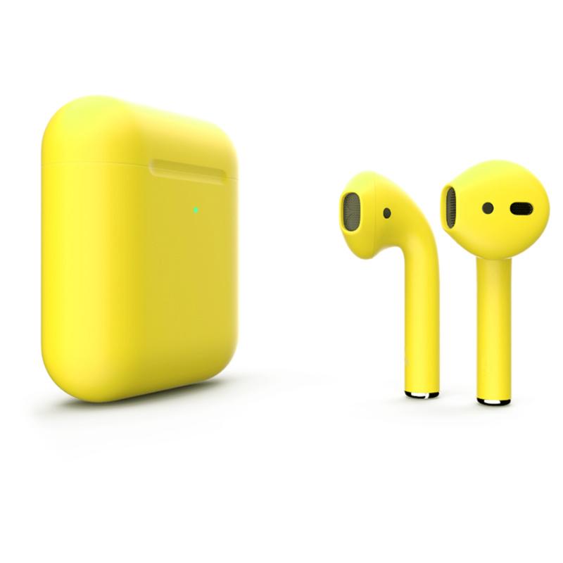 Беспроводные наушники Apple AirPods 2 Color (беспроводная зарядка чехла) Yellow Matte