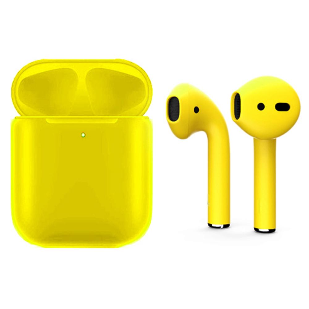 Беспроводные наушники Apple AirPods 2 Color (беспроводная зарядка чехла) Yellow Matte (полная покраска)