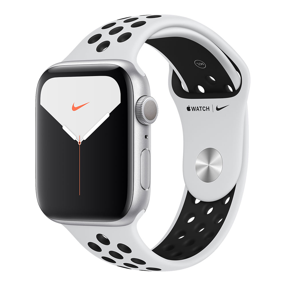 Apple Watch Series 5 GPS 44mm Aluminum Case with Nike Sport Band Silver/Pure Platinum/Black