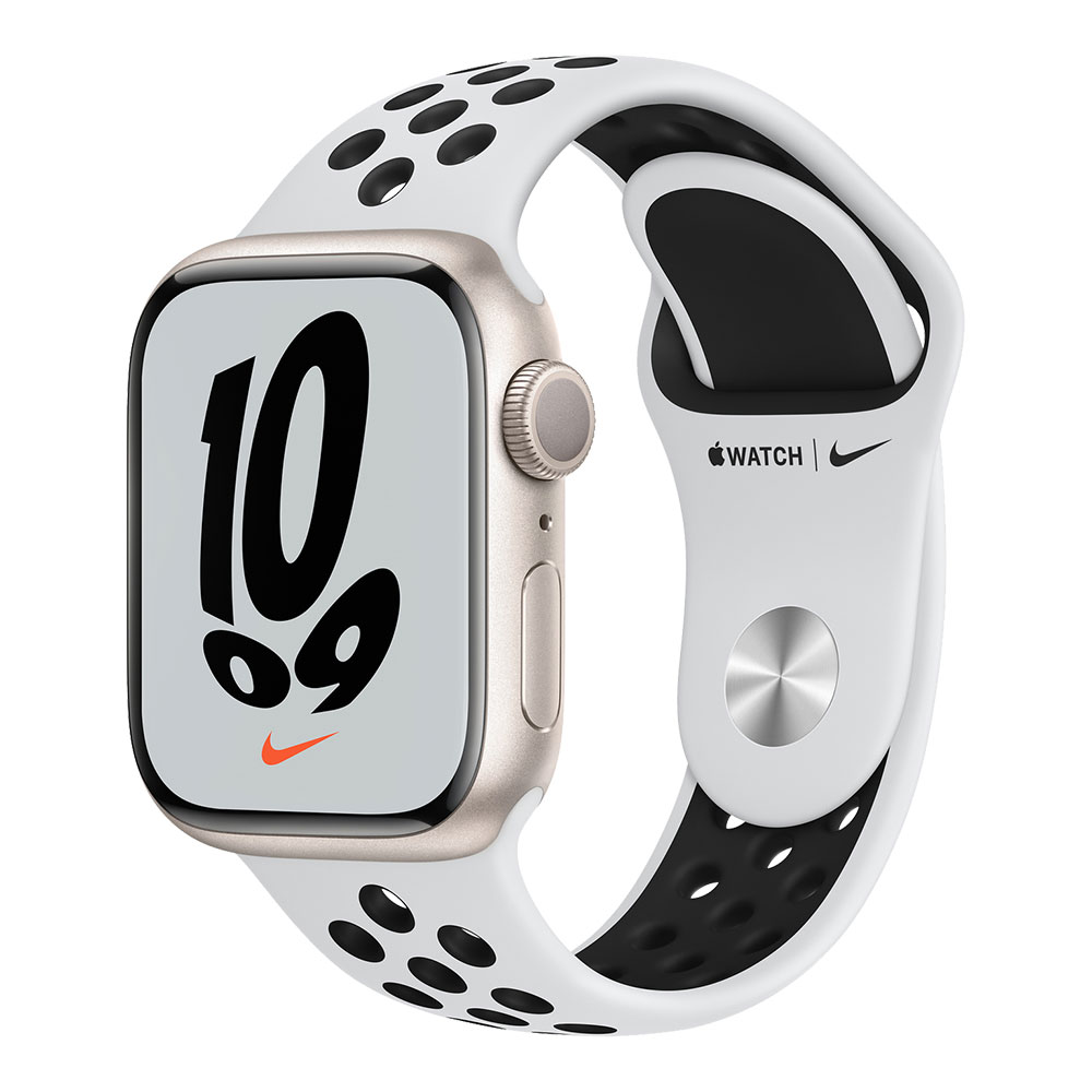 Apple Watch Nike Series 7 GPS 41mm Starlight Aluminum Case with Pure Platinum/Black Nike Sport Band