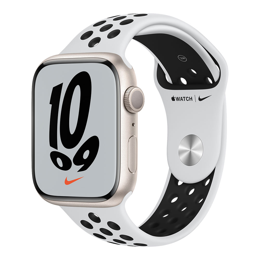 Apple Watch Nike Series 7 GPS 45mm Starlight Aluminum Case with Pure Platinum/Black Nike Sport Band