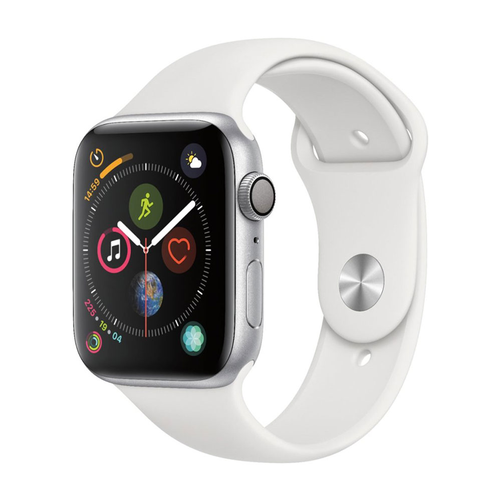 Apple Watch Series 4 GPS 44 mm Silver Aluminum Case with White Sport Band