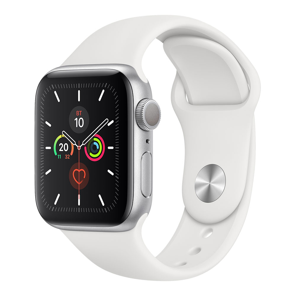Apple Watch Series 5 GPS 40 mm Silver Aluminum Case with White Sport Band