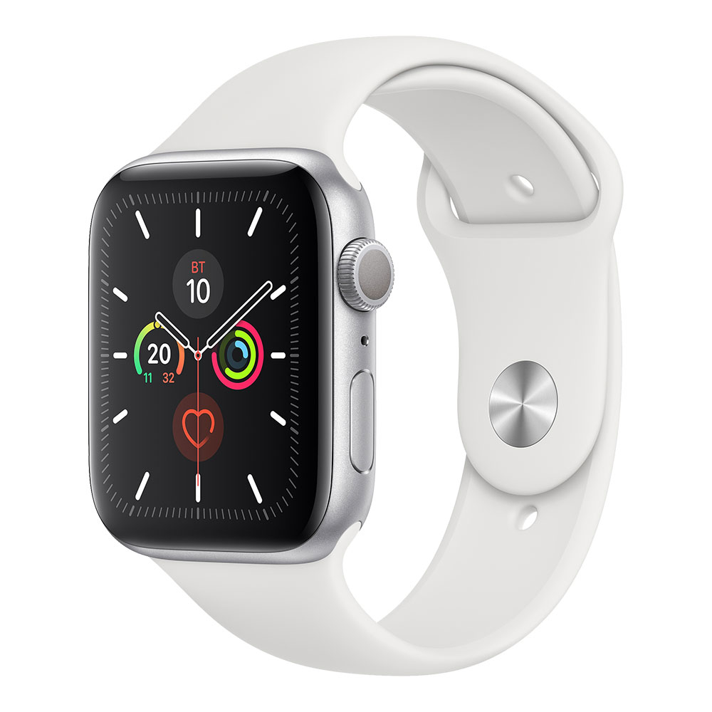 Apple Watch Series 5 GPS 44 mm Silver Aluminum Case with White Sport Band