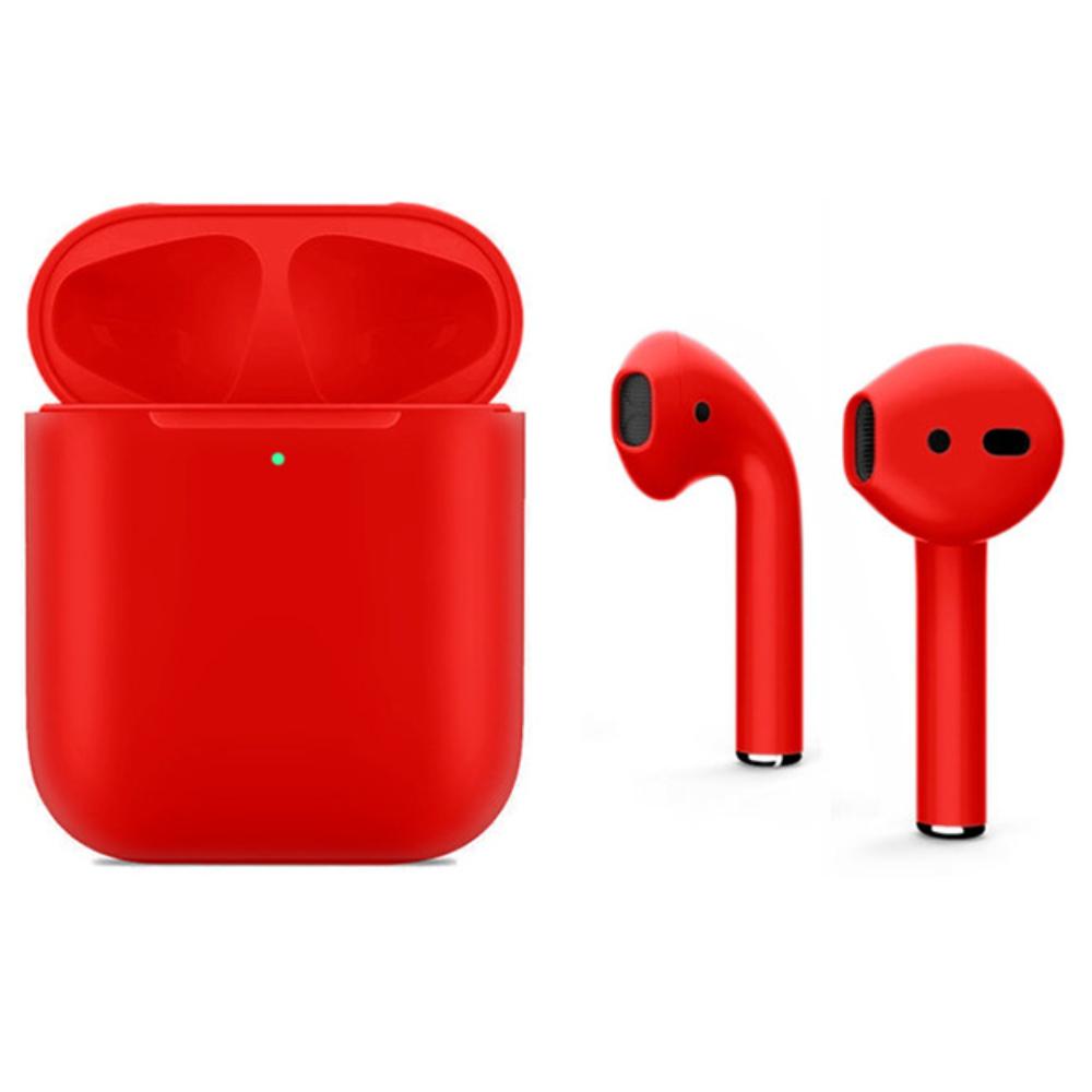 Беспроводные наушники Apple AirPods 2 Color (беспроводная зарядка чехла) Red Matte (полная покраска)
