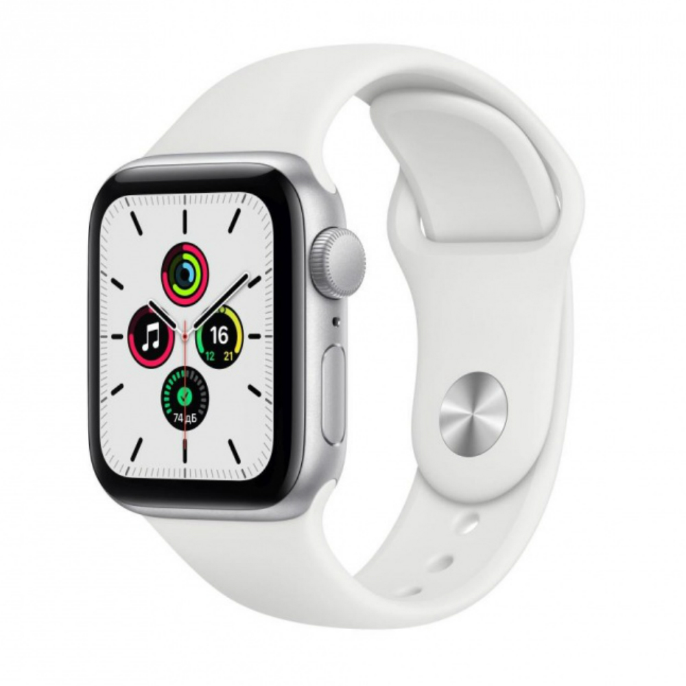 Apple Watch SE GPS 40mm Aluminum Case with Sport Band Серебристый/белый