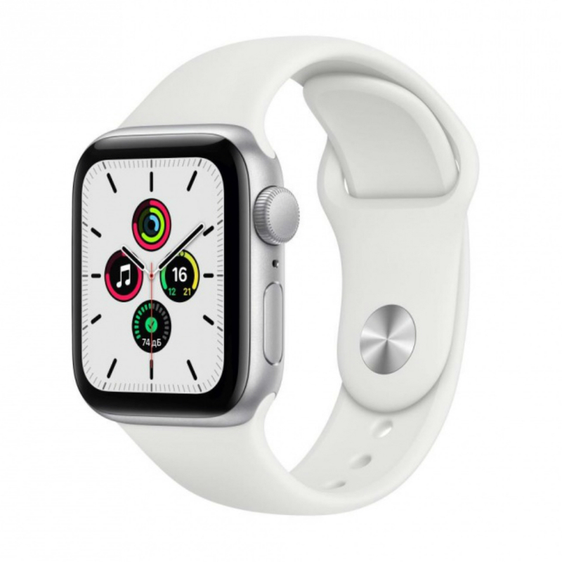 Apple Watch SE GPS 44mm Aluminum Case with Sport Band Серебристый/белый