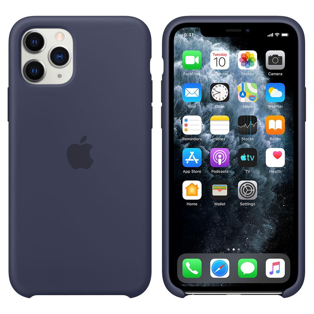 Силиконовый чехол для iPhone 11 Pro, тёмно-синий
