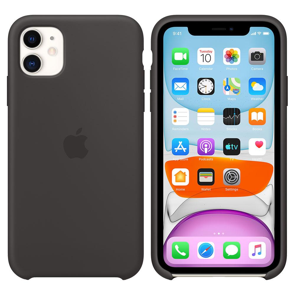Силиконовый чехол для iPhone 11, чёрный