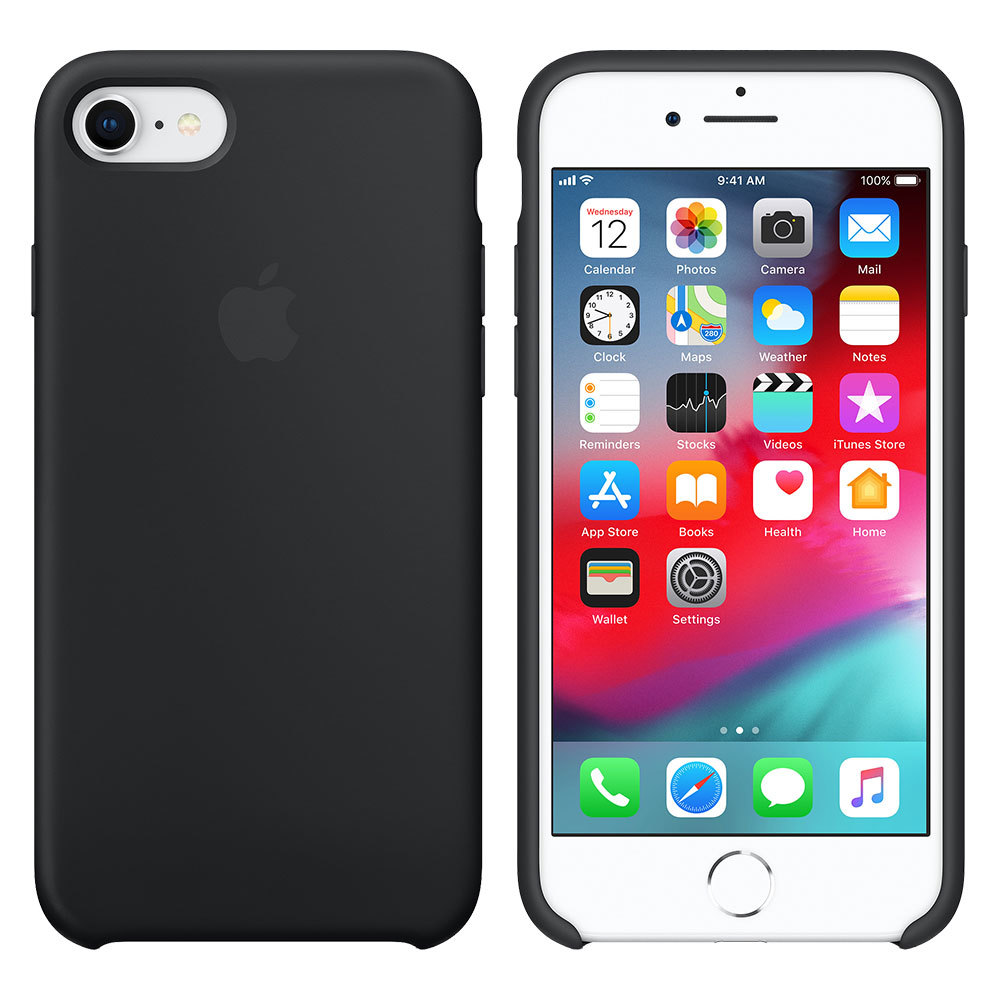 Силиконовый чехол для iPhone 7/8, чёрный
