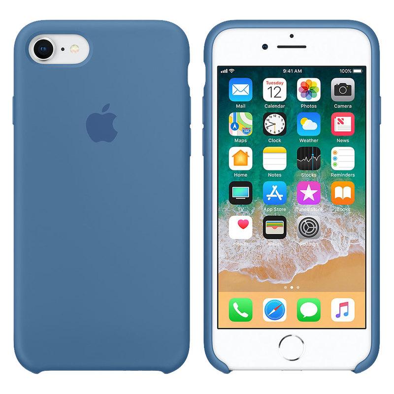 Силиконовый чехол для iPhone 7/8/SE, синий деним