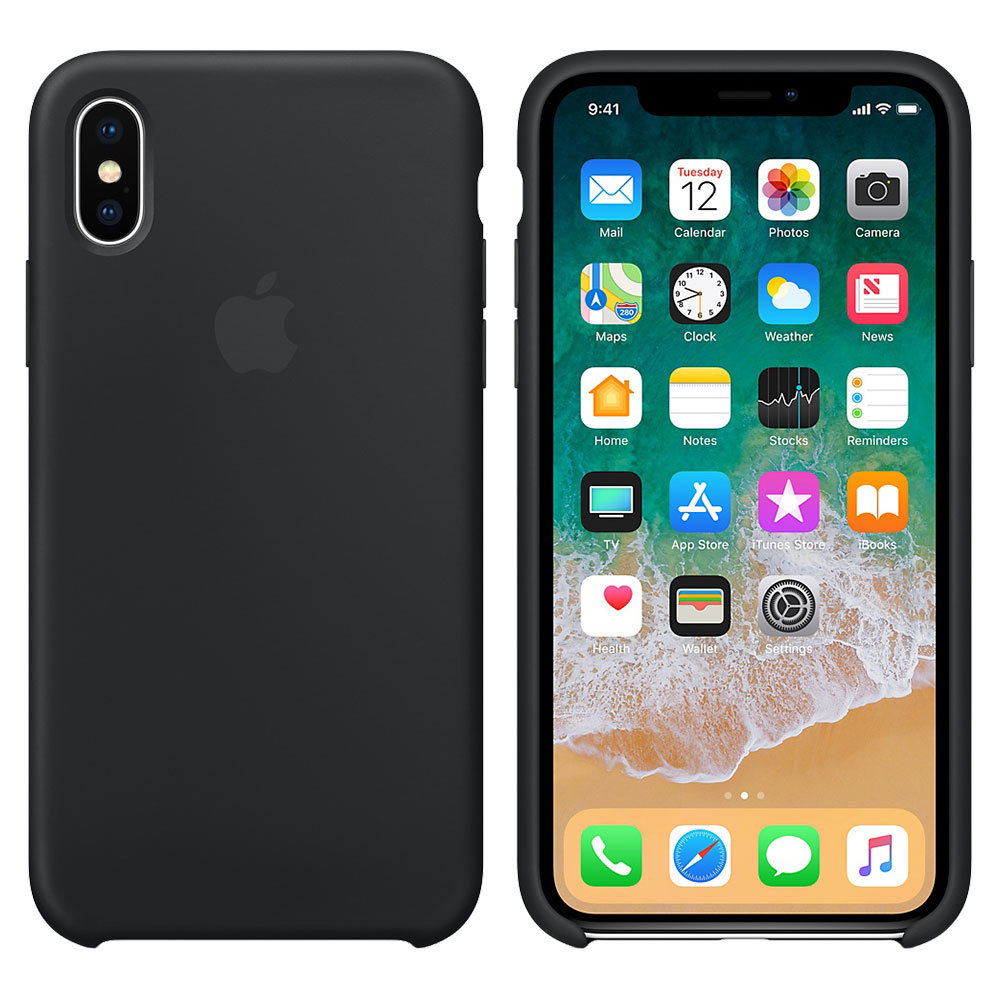 Силиконовый чехол для iPhone Xs Max, чёрный