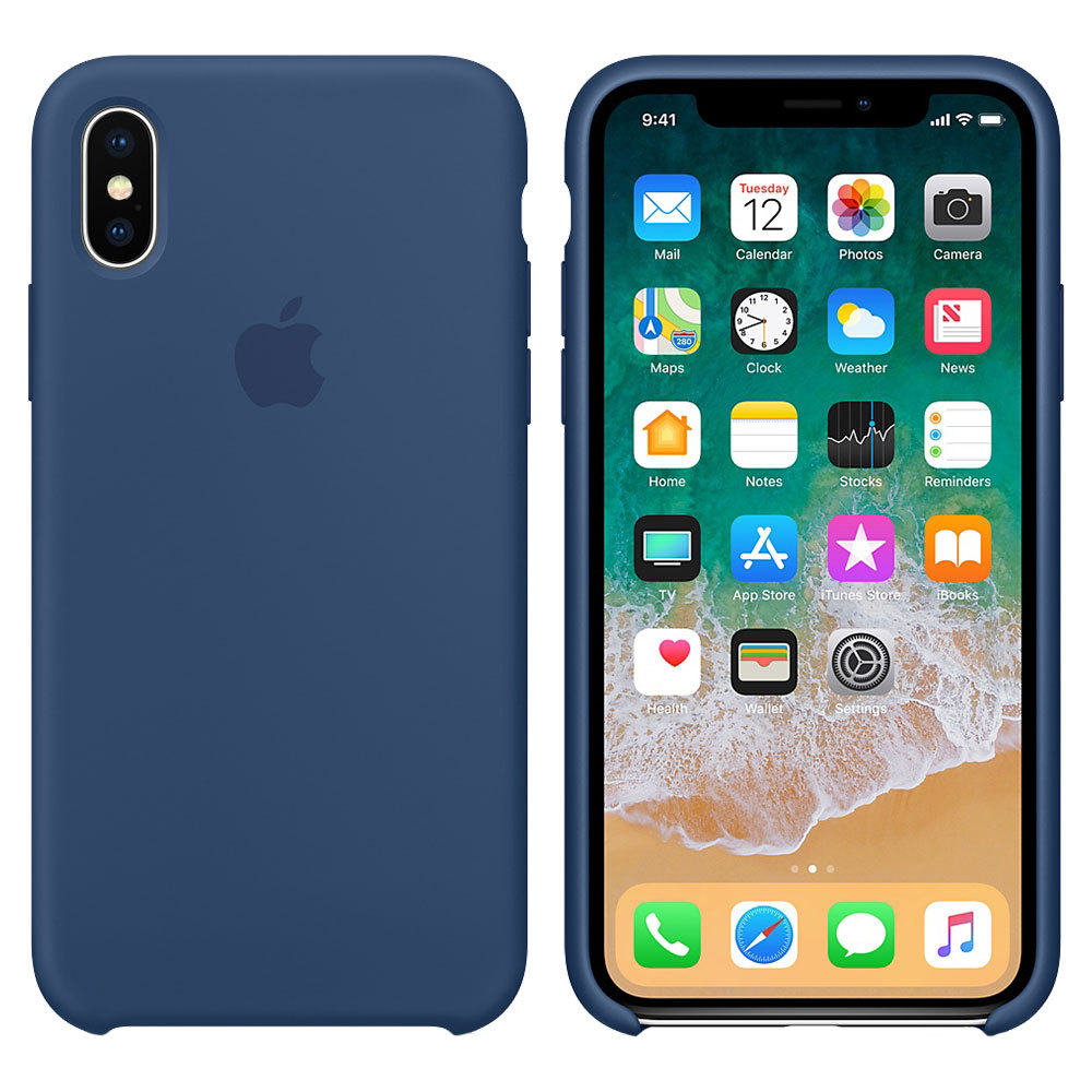 Силиконовый чехол для iPhone X/Xs, тёмно-синий