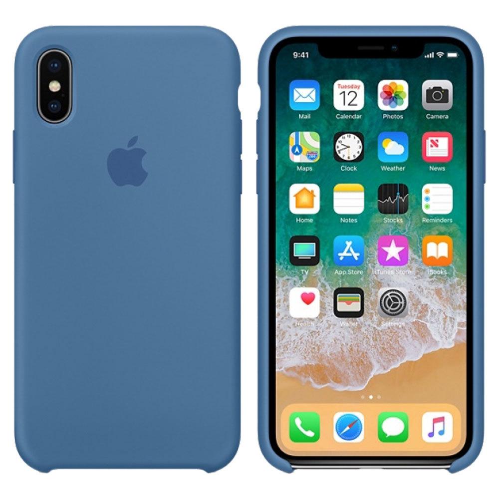 Силиконовый чехол для iPhone X/Xs, синий деним