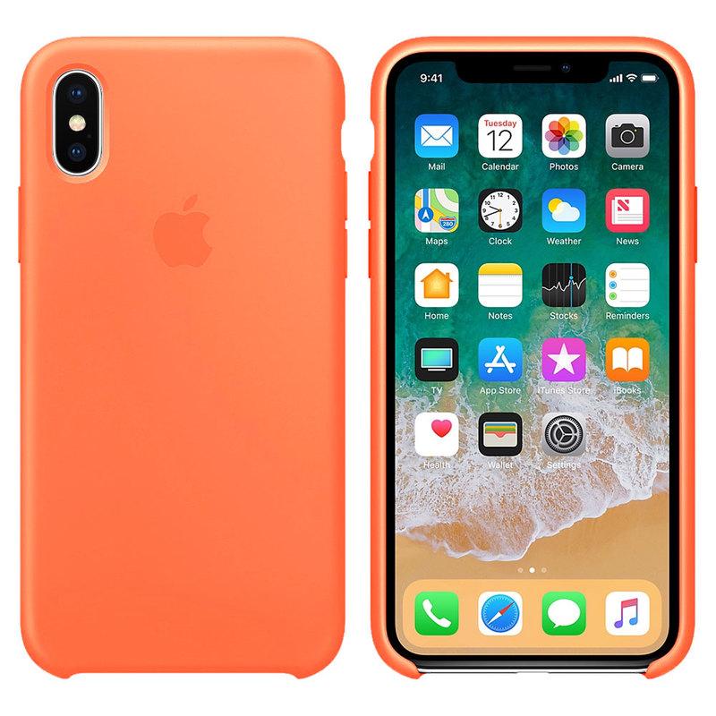 Силиконовый чехол для iPhone X/Xs, оранжевый