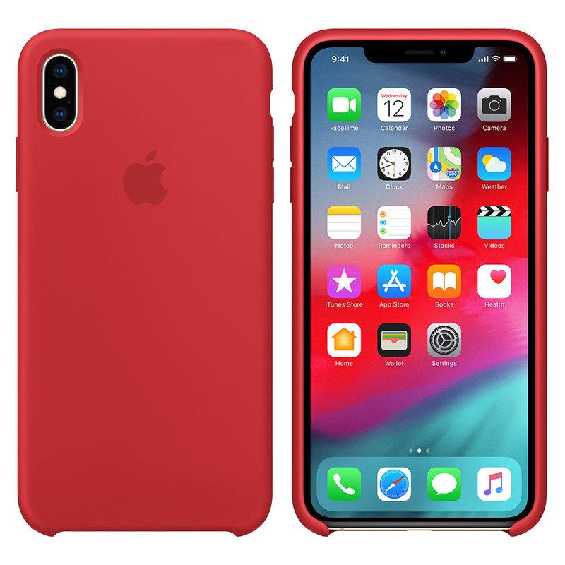 Силиконовый чехол для iPhone Xs Max, красный