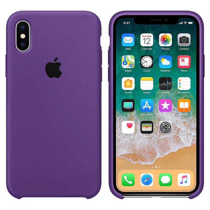 Силиконовый чехол для iPhone Xs Max, фиолетовый