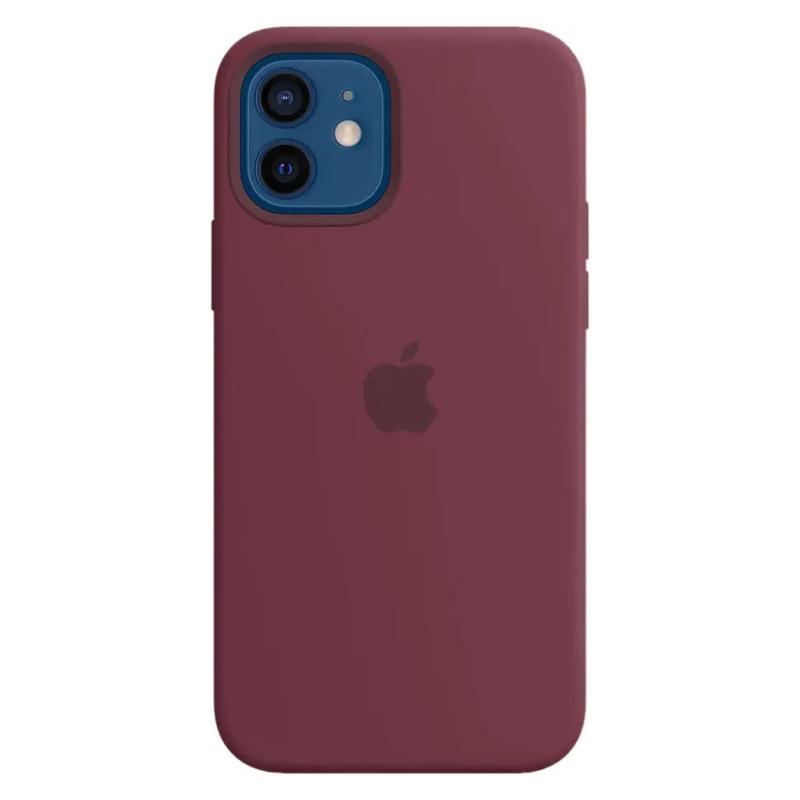 Чехол для iPhone 12/12 Pro MagSafe Silicon Case Protect (Сливовый)