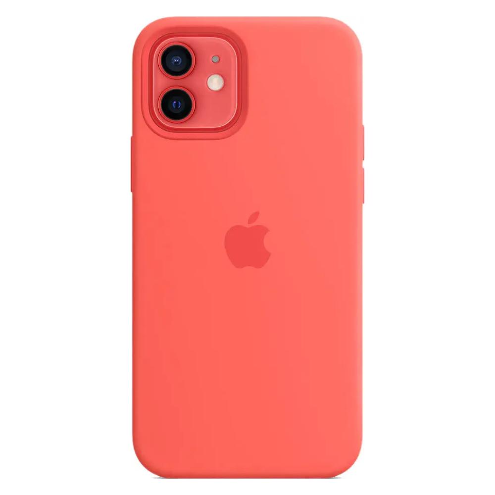 Чехол для iPhone 12/12 Pro MagSafe Silicon Case Protect (Розовый цитрус)