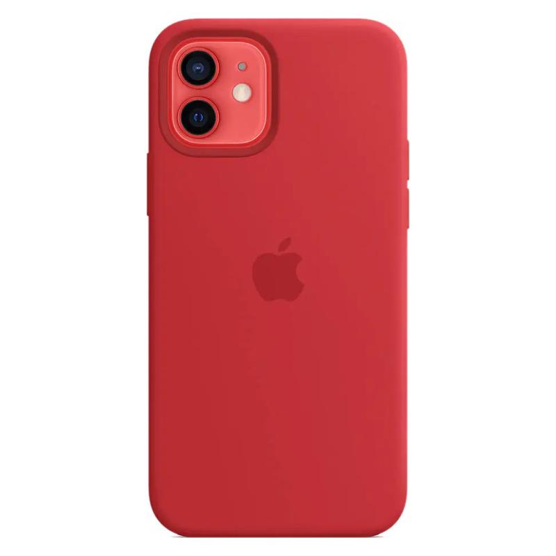 Чехол для iPhone 12/12 Pro MagSafe Silicon Case Protect (Красный)