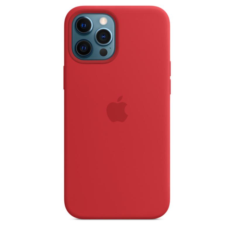 Чехол для iPhone 12 Pro Max MagSafe Silicon Case Protect (Красный)