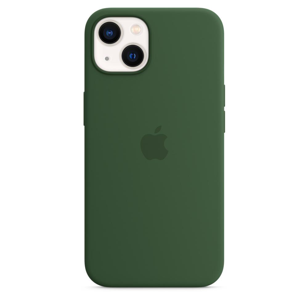 Силиконовый чехол MagSafe для iPhone 13, цвет «зелёный клевер»