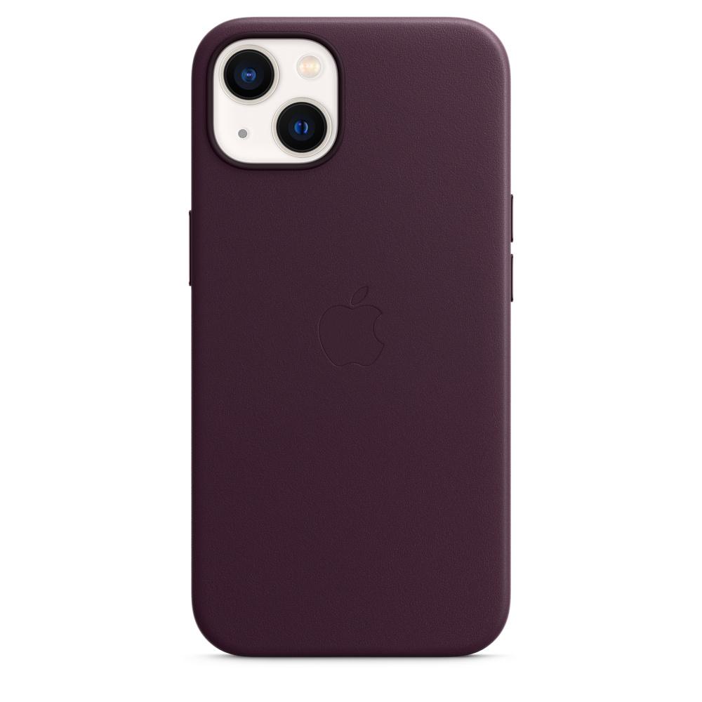 Кожаный чехол MagSafe для iPhone 13, цвет «тёмная вишня»