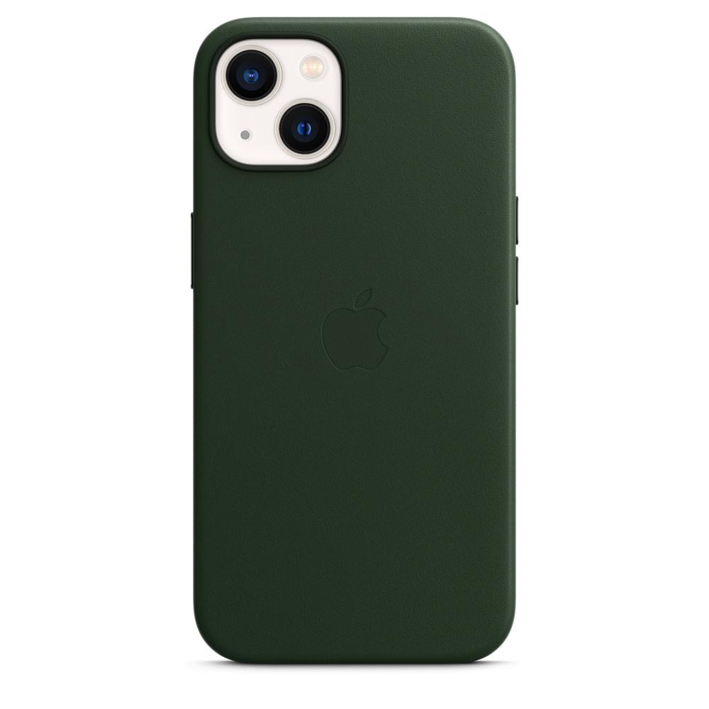 Кожаный чехол MagSafe для iPhone 13, цвет «зелёная секвойя»