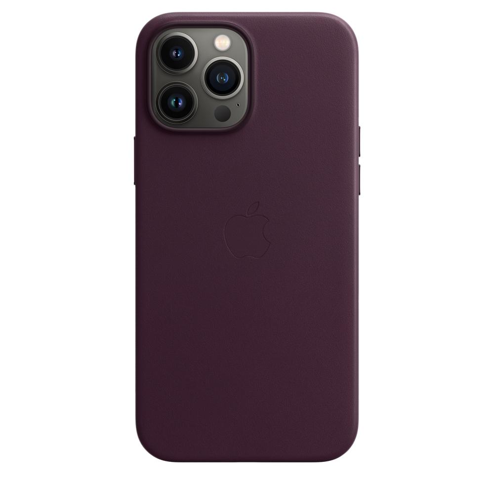 Кожаный чехол MagSafe для iPhone 13 Pro Max, цвет «тёмная вишня»